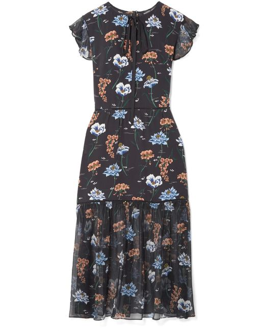 Markus Lupfer - Black Belle Floral-print Silk Crepe De Chine And Chiffon Midi Dress - Lyst