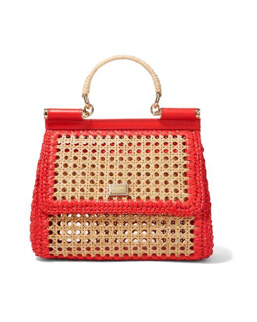 Lyst - Dolce   Gabbana Sicily Medium Leather-trimmed Raffia Tote in ... 4f25dd3f215d3