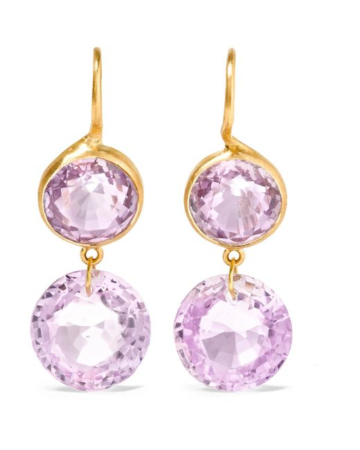 Marie-hélène De Taillac | Metallic 18-karat Gold Amethyst Earrings | Lyst
