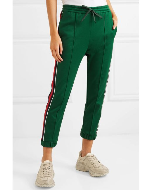 73e75b9e8d6c ... Gucci - Green Striped Tech-jersey Track Pants - Lyst ...