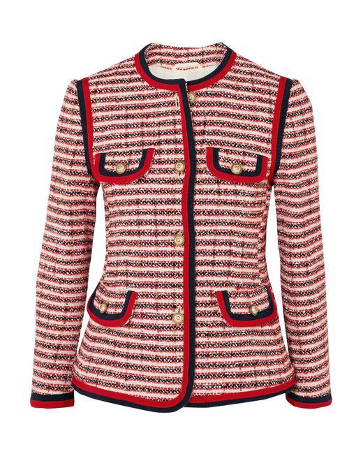 7672c03ac66 Lyst - Veste en tweed rayée Gucci en coloris Rouge