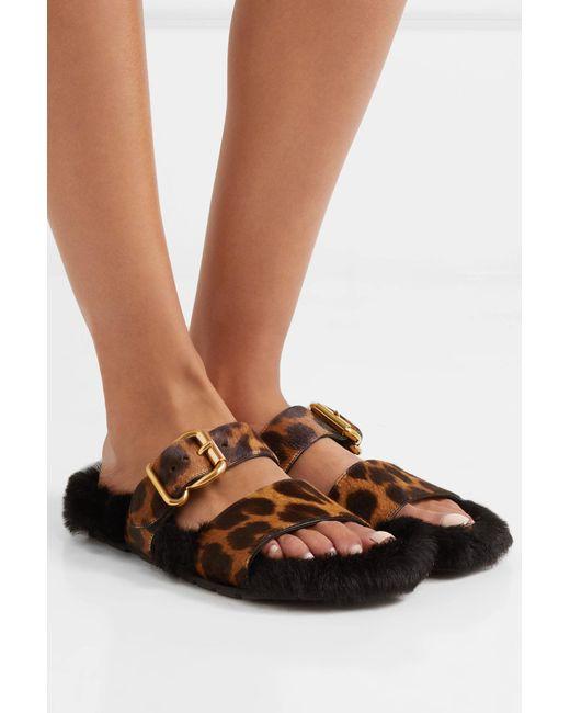b62ac1a5c0b ... Prada - Multicolor Leopard-print Calf Hair And Shearling Slides - Lyst  ...