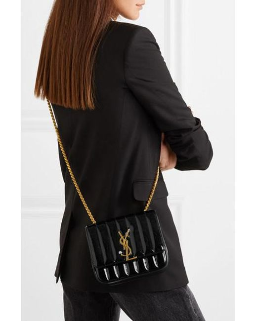 0046e7405eb ... Saint Laurent - Black Vicky Medium Ysl Monogram Chain Crossbody Bag -  Lyst ...