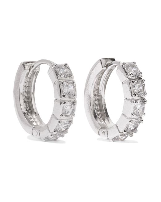 Kenneth Jay Lane | Metallic Rhodium-plated Cubic Zirconia Hoop Earrings | Lyst