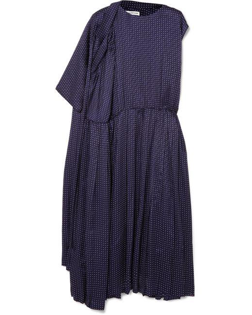 Balenciaga - Blue Asymmetric Polka-dot Silk-jacquard Midi Dress - Lyst