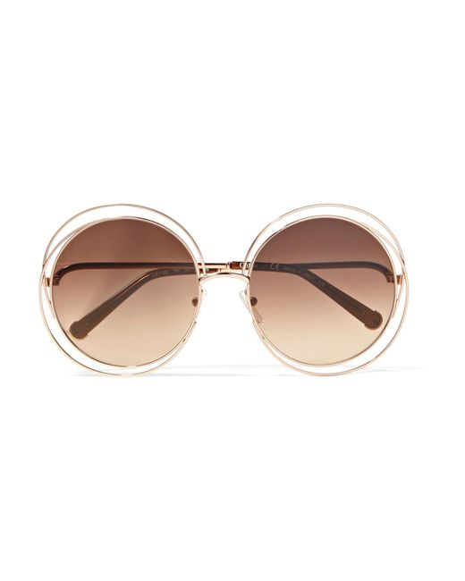 Chloé | Brown Carlina Round-frame Rose Gold-tone Sunglasses | Lyst
