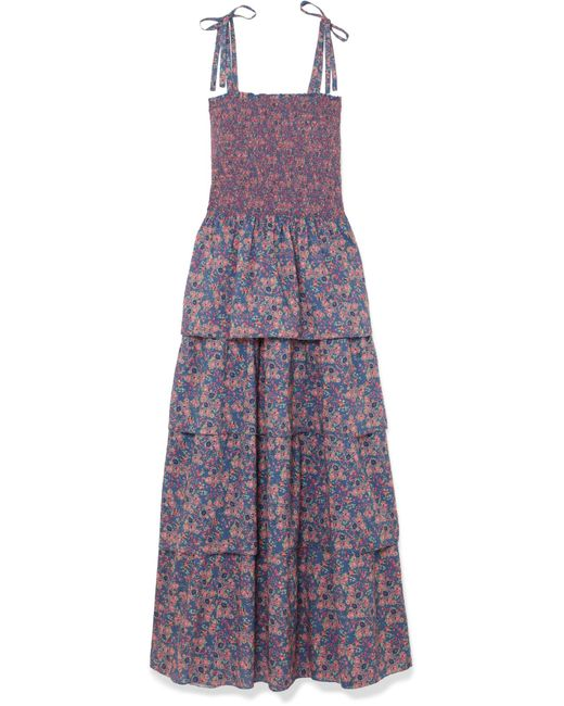 LoveShackFancy - Blue Caressa Smocked Tiered Floral-print Cotton Maxi Dress - Lyst