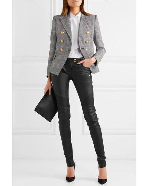 d3a8e6d5a4f ... Balmain - Black Ribbed Leather Skinny Pants - Lyst ...