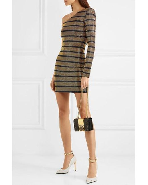 046d8192b134 ... Balmain - Metallic One-shoulder Crystal-embellished Georgette Mini Dress  - Lyst ...