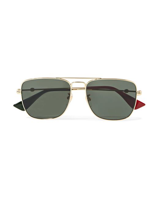 59c73b268b3 Gucci - Metallic Square-frame Gold-tone Sunglasses - Lyst ...