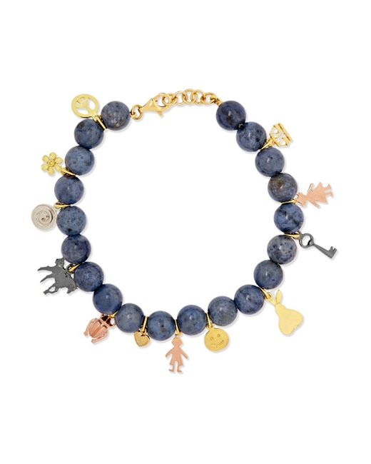 Carolina Bucci - Metallic Recharmed Lucky 18-karat Yellow, Rose And White Gold And Dumortierite Bracelet - Lyst