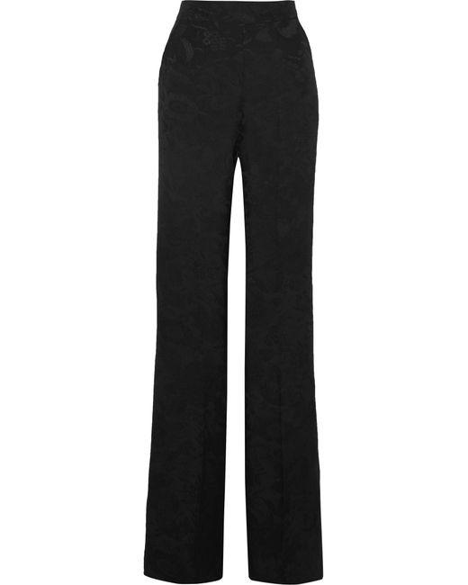 Etro - Black Silk-jacquard Wide-leg Pants - Lyst