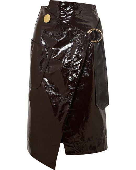 Petar Petrov - Brown Asymmetric Patent-leather Wrap Skirt - Lyst