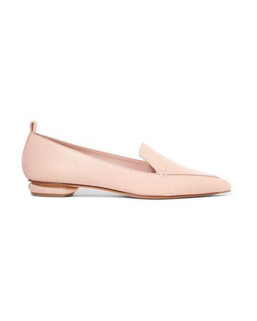 Nicholas Kirkwood - Pink Beya Textured-leather Point-toe Flats - Lyst