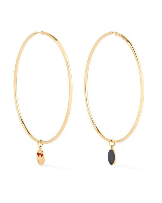 Alison Lou | Metallic Endless 14-karat Gold And Enamel Hoop Earrings | Lyst