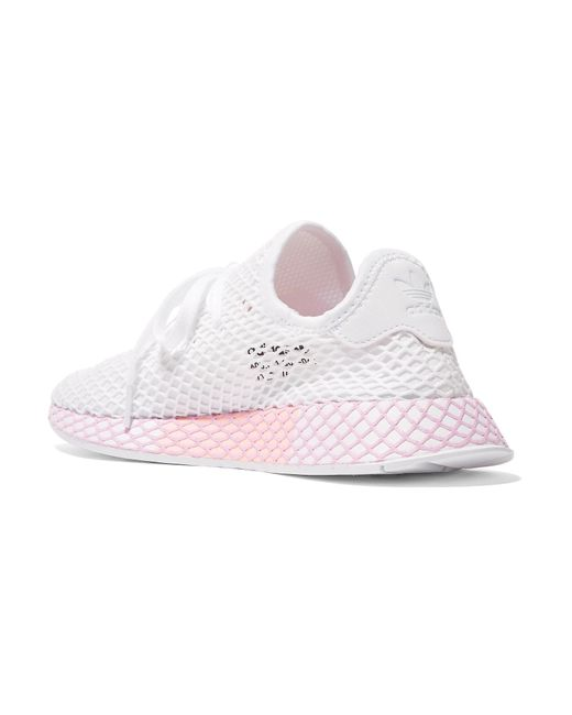release date: 846fc 53b9e ... Adidas Originals - White Deerupt Runner Suede-trimmed Mesh Sneakers -  Lyst ...