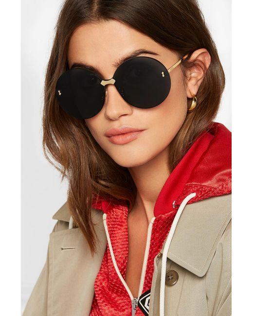 147bc66db3f ... Gucci - Gray Round-frame Gold-tone Sunglasses - Lyst ...
