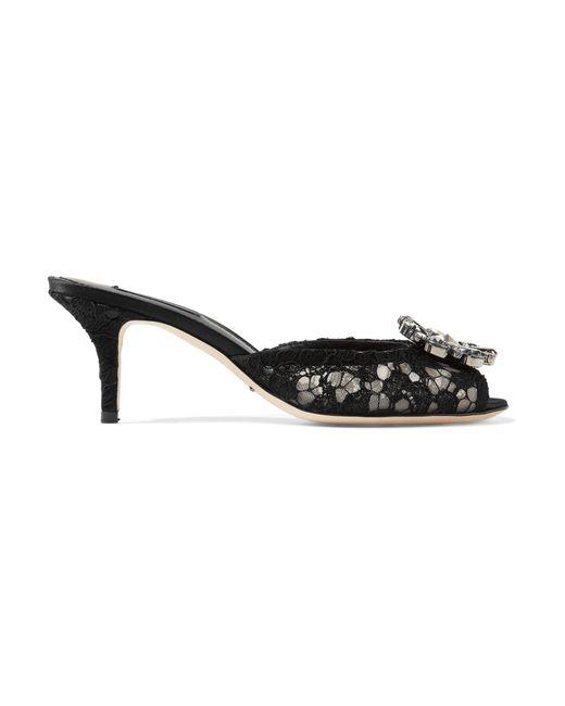 Dolce & Gabbana - Black Embellished Lace Mules - Lyst