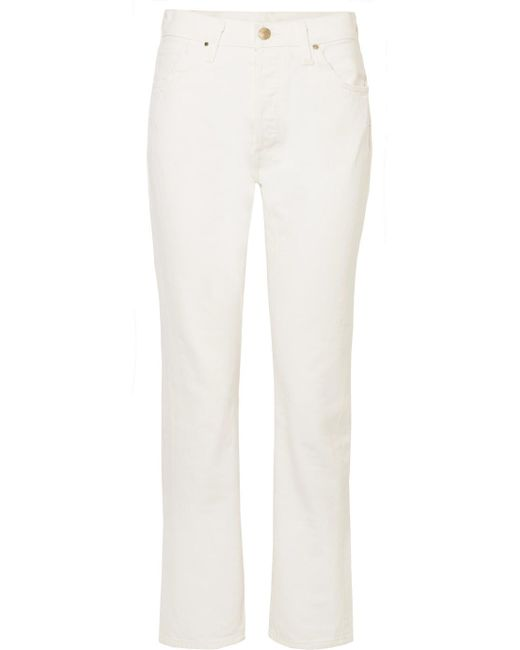 Goldsign - White The Low Slung Cropped Mid-rise Straight-leg Jeans - Lyst
