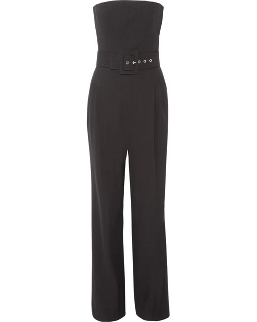 Michael Kors | Black Strapless Belted Wool-crepe Jumpsuit | Lyst