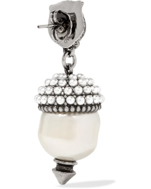 Gucci Silver-tone Faux Pearl Earrings - White IyZ3M