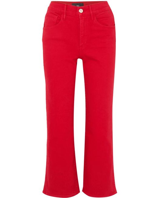 3x1 - W4 Shelter Cropped High-rise Flared Jeans Red 31 - Lyst
