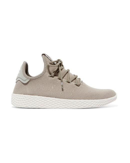Adidas Originals - Gray + Pharrell Williams Tennis Hu Stretch-knit Sneakers - Lyst