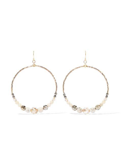 Chan Luu   Metallic Multi Brioche Gold-tone, Bead And Crystal Hoop Earrings   Lyst