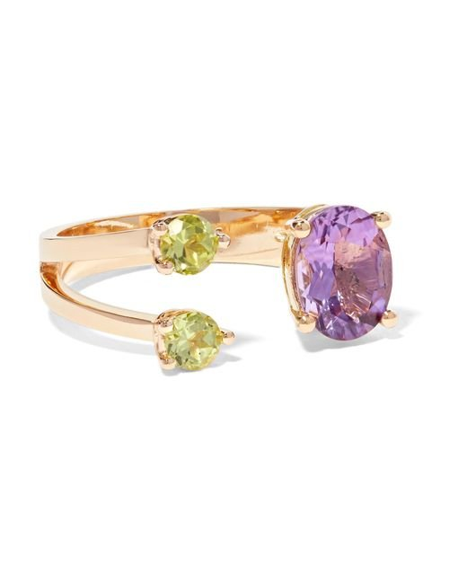 Delfina Delettrez - Metallic 18-karat Gold, Amethyst And Peridot Ring - Lyst