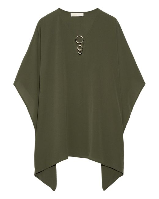 MICHAEL Michael Kors | Green Embellished Stretch-crepe Blouse | Lyst