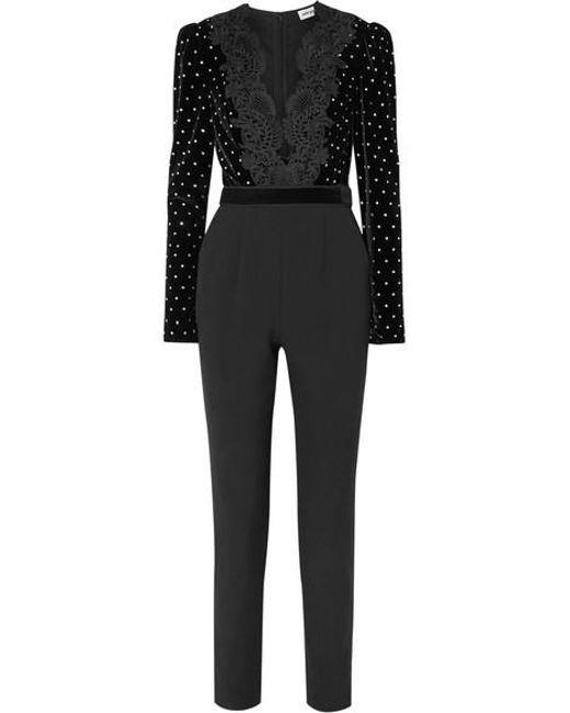 Self-Portrait - Black Lace Trimmed Embellished Jumpsuit - Lyst