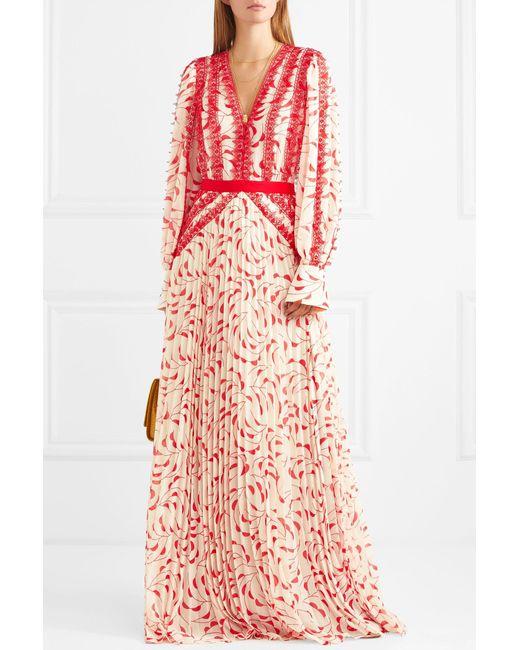 955dd844745 ... Self-Portrait - Multicolor Printed Chiffon Maxi Dress - Lyst ...