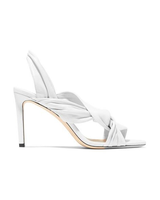 White Knotted Leila Jimmy Sandals Choo Lyst 85 Leather In Slingback 4ARqL35jc