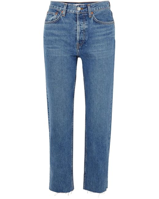 Re/done - Blue Originals Stovepipe High-rise Straight-leg Jeans - Lyst