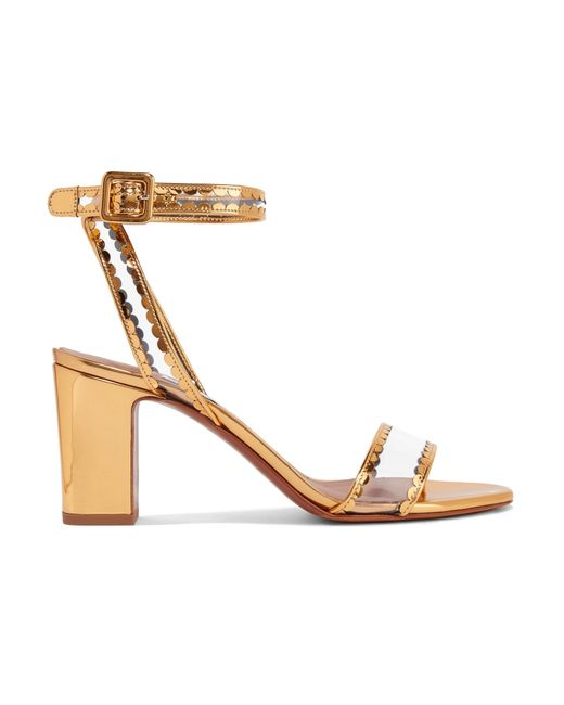 Tabitha Simmons - Metallic Leticia Patent-leather And Pvc Sandals - Lyst