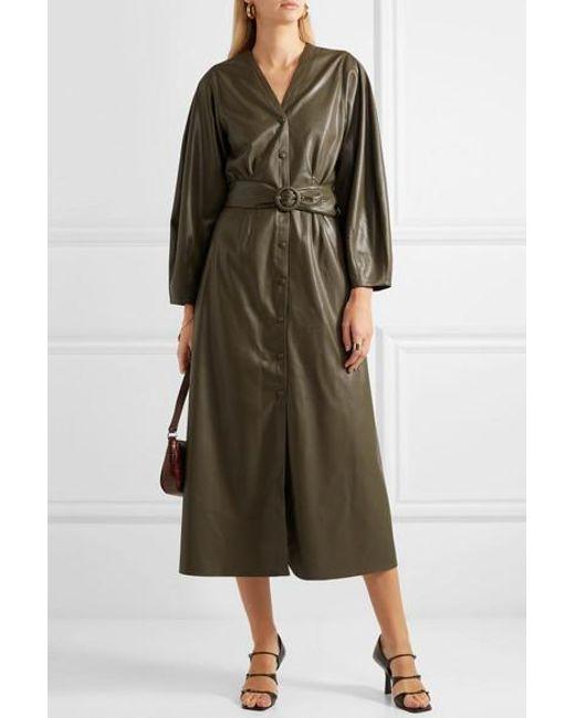 0f9e722e76 ... Nanushka - Green Femme Belted Vegan Leather Midi Dress - Lyst ...