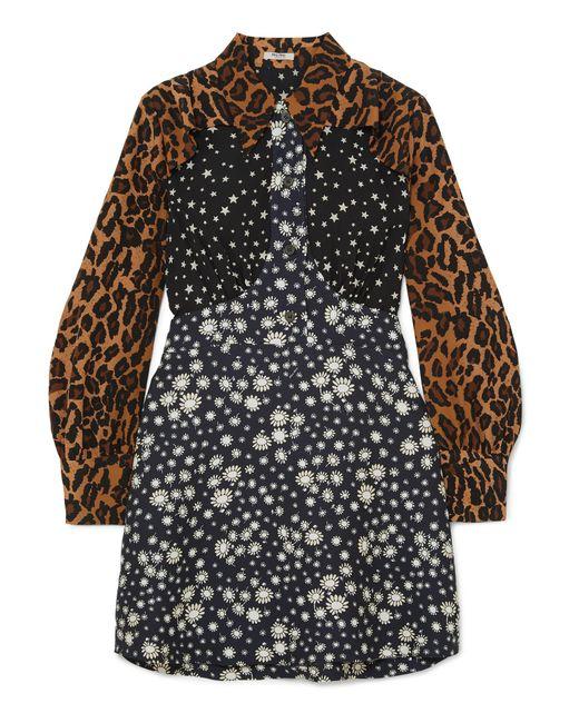 Miu Miu - Black Printed Crepe Mini Dress - Lyst