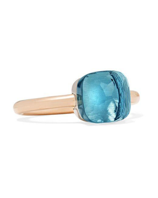 Pomellato - Blue Nudo Petit 18-karat Rose Gold Topaz Ring - Lyst