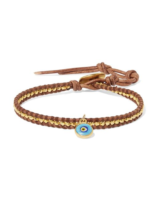 Chan Luu - Multicolor Evil Eye Leather, Gold-plated And Enamel Bracelet - Lyst