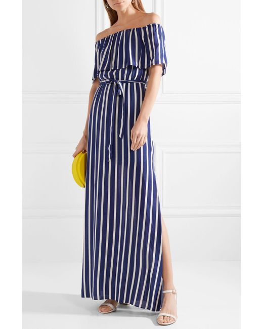 Grazi Off-the-shoulder Striped Voile Maxi Dress - Blue Alice & Olivia Cheap Sale Free Shipping NTcQbaPw