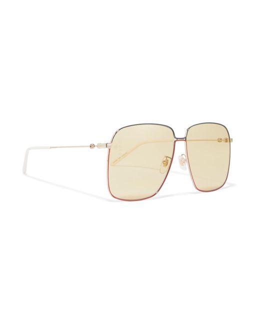 b183c3db20c ... Gucci - Metallic Oversized Square-frame Gold-tone Sunglasses - Lyst ...