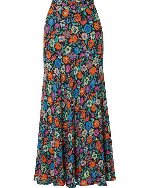 Etro - Blue Floral-print Crepe Maxi Skirt - Lyst