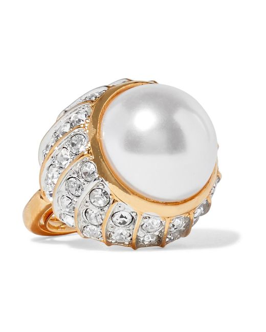 Kenneth Jay Lane | Metallic Gold-plated, Crystal And Faux Pearl Ring | Lyst