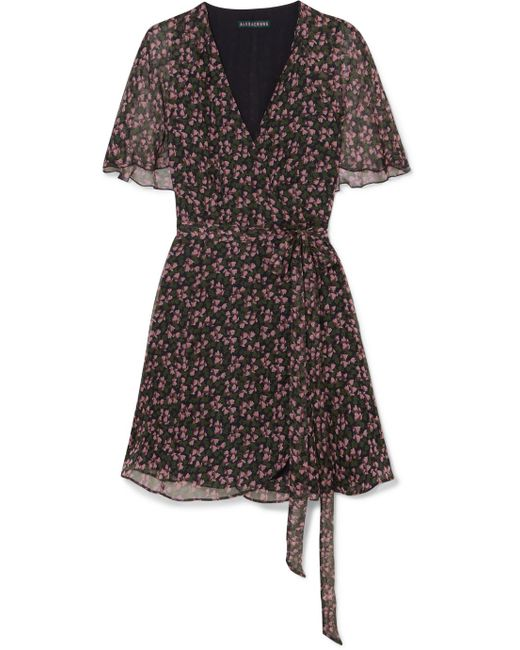 AlexaChung - Purple Floral-print Chiffon Wrap Mini Dress - Lyst