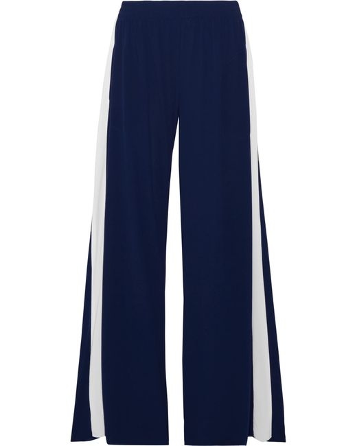 Norma Kamali | Blue Striped Stretch-jersey Wide-leg Pants | Lyst
