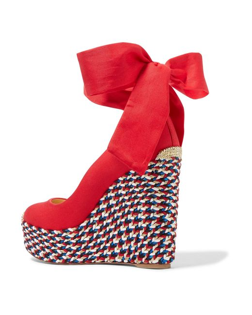 6f84dcffeea ... Christian Louboutin - Red Barbaria Zeppa 120 Canvas Wedge Espadrilles -  Lyst ...