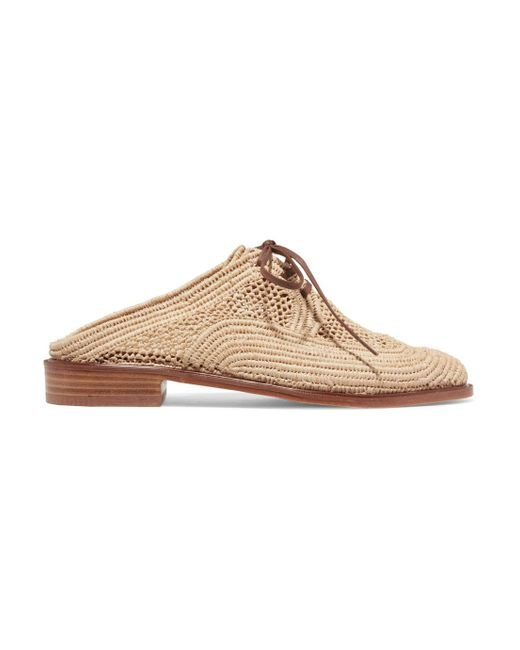 Clergerie - Natural Jaly Lace-up Raffia Slippers - Lyst