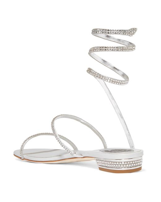 04ca4c498ef653 ... Rene Caovilla - Cleo Crystal-embellished Metallic Leather Sandals - Lyst  ...