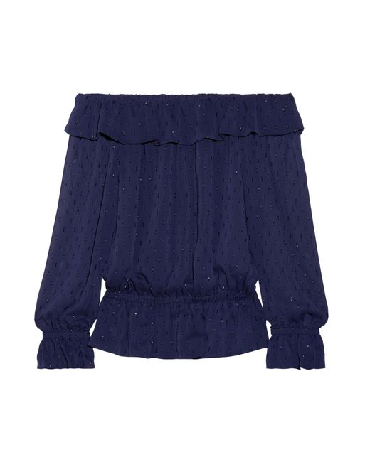 MICHAEL Michael Kors | Blue Off-the-shoulder Ruffled Fil Coupé Crepon Top | Lyst