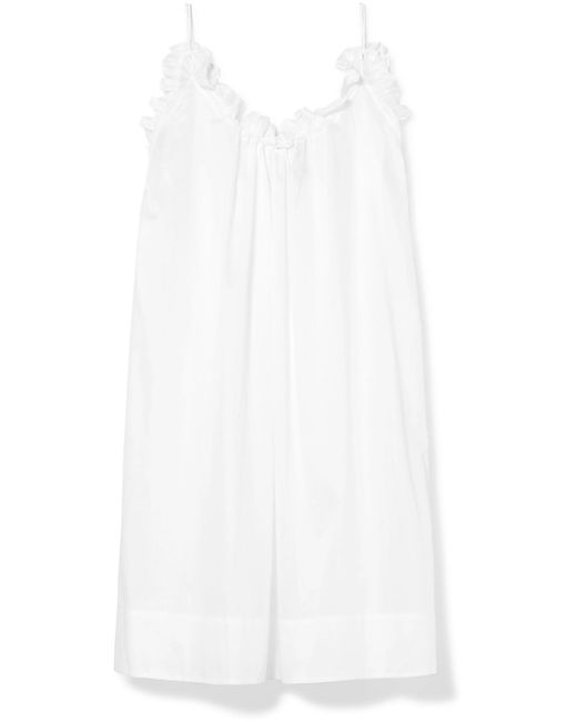 Three Graces London - White Nightingale Ruffled Cotton-voile Nightdress - Lyst